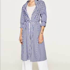 ZARA blue and white striped shirt dress with belt
